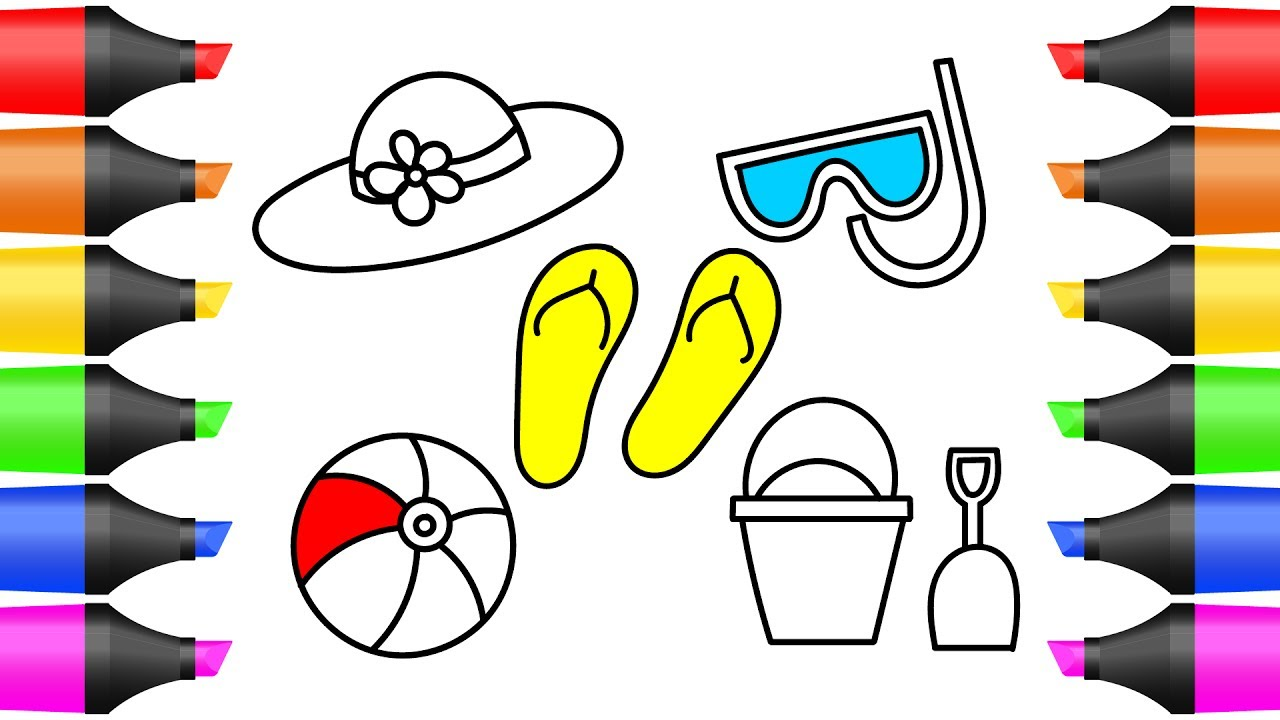 How to Draw Summer Accessories for Beach | Coloring Pages for Kids ...