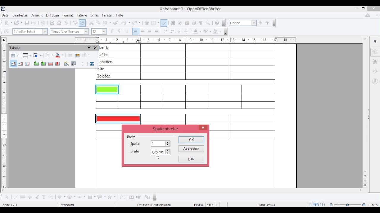 Briefumschlag Beschriften Openoffice : Openoffice tabelle zeilenhöhe spaltenbreite rahmen
