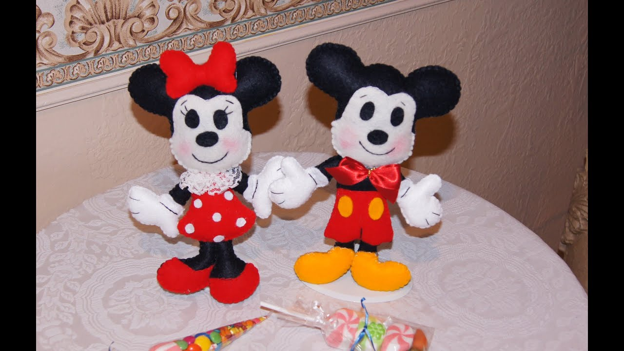 DIY- MICKEY & MINNIE en fieltro ideal para el día del niño - YouTube