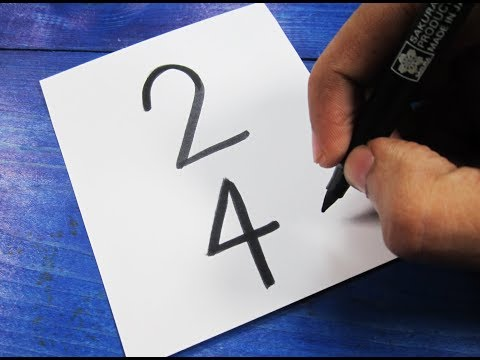 How to turn Vertical Number 24 into a Cartoon STORK BIRD ! Learn drawing art on paper for kids