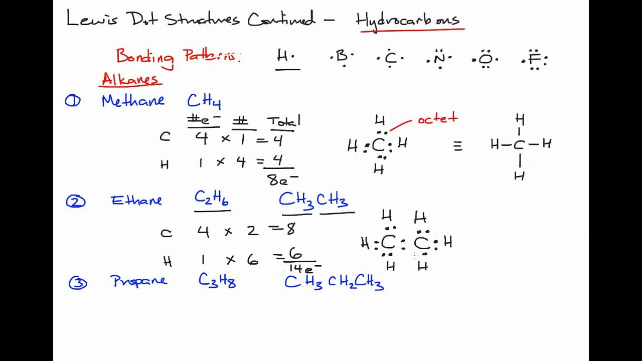 Drawing Lewis Dot Structures Of Hydrocarbon Alkanes In