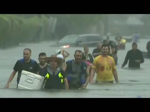 Historic Floods Hit Houston as Hundreds Rescued from Water | NBC Nightly News