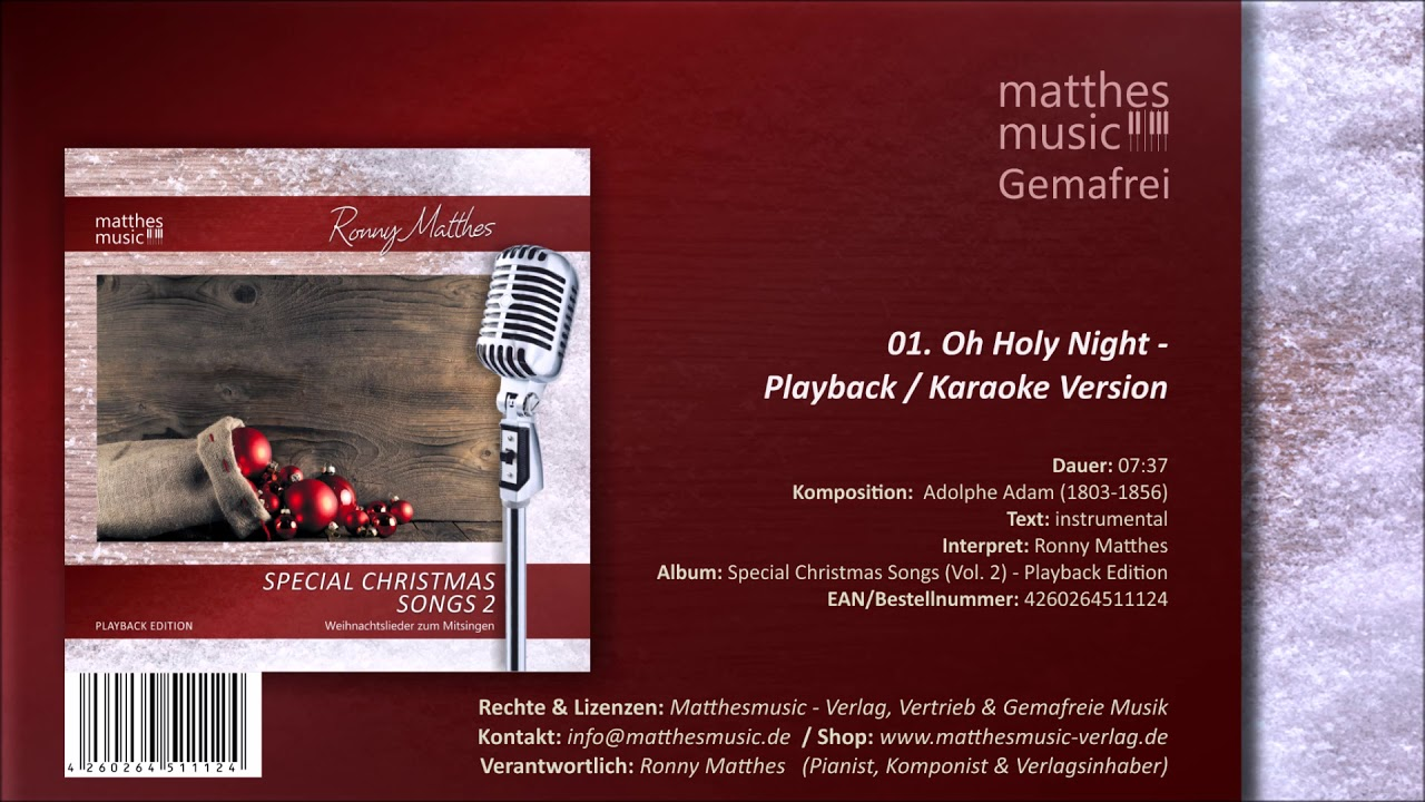 Oh Holy Night (01/08) Karaoke Version - CD: Special Christmas Songs, Vol. 2 - Playback Edition ...