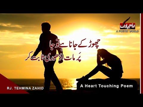 JANA HAI TO JA  Urdu Heart Touching Poem IN FEMALE VOICE   Heart Broken Ghazal