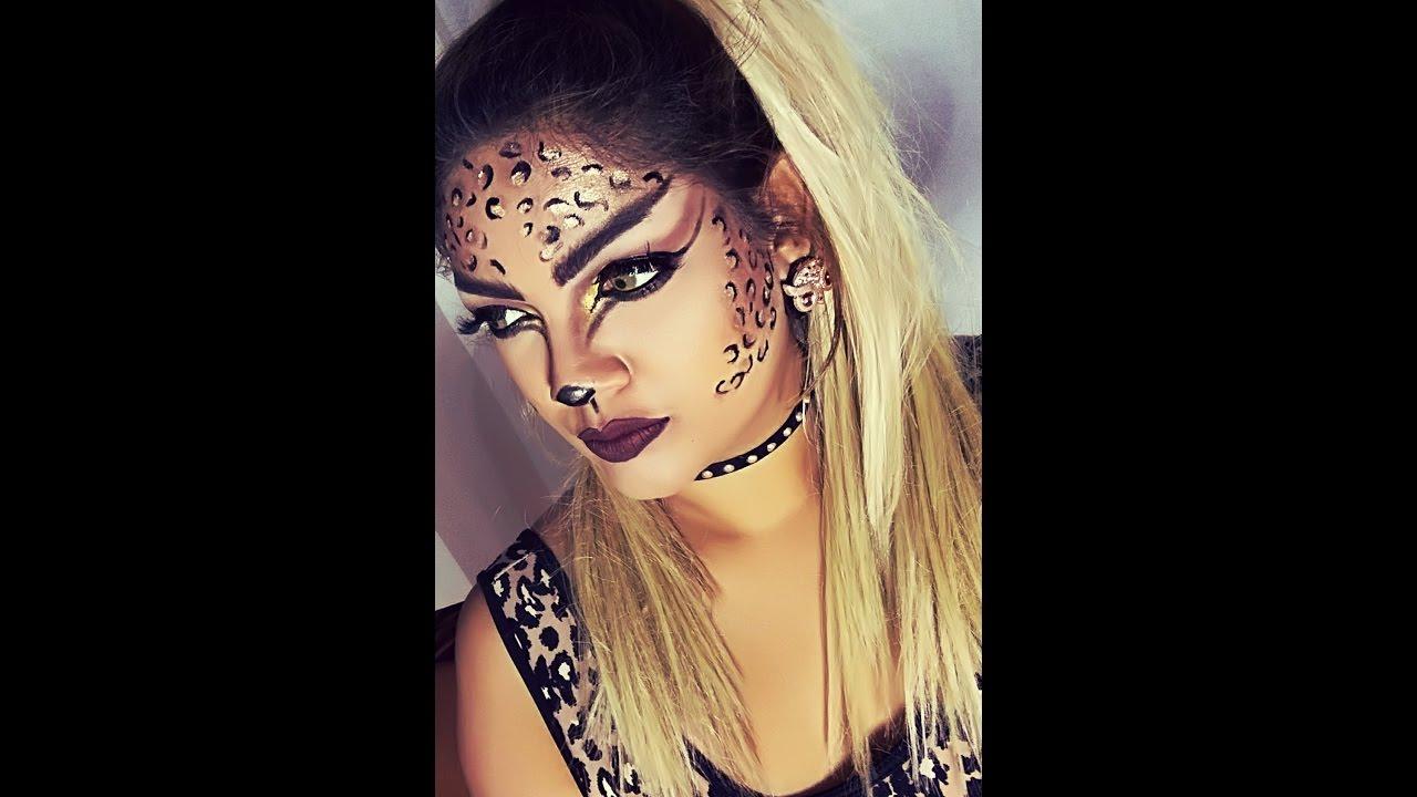 Leopard Halloween Makeup Tutorial - YouTube