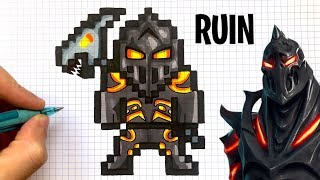 HOW TO DRAW RUIN SKIN FORTNITE PIXEL ART