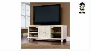 Sauder Harbor View Entertainment Credenza Antiqued White Finish