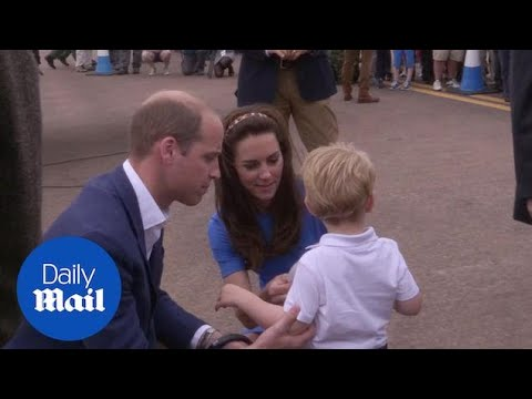 Prince George is very happy with his sticker on trip to Fairford - Daily Mail