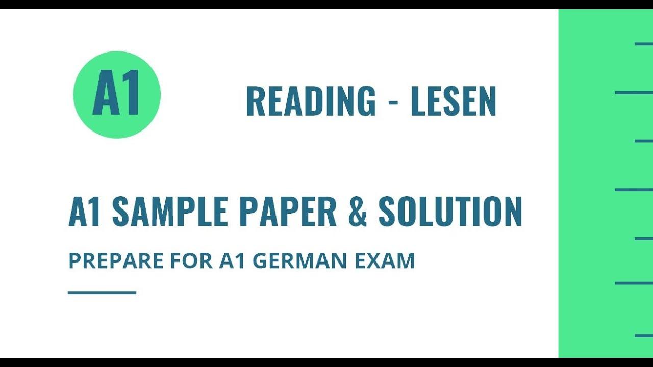 A1 German Exam Sample Questions | Reading - Lesen | Goethe