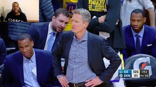 NICK YOUNG REFUSES TO PASS TO AN OPEN STEPHEN CURRY IN CRUNCH TIME & AIRBALLS THE 3! KERR IS PISSED!