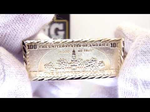 $100 Bill USD Benjamins Pendant 10K Yellow Gold