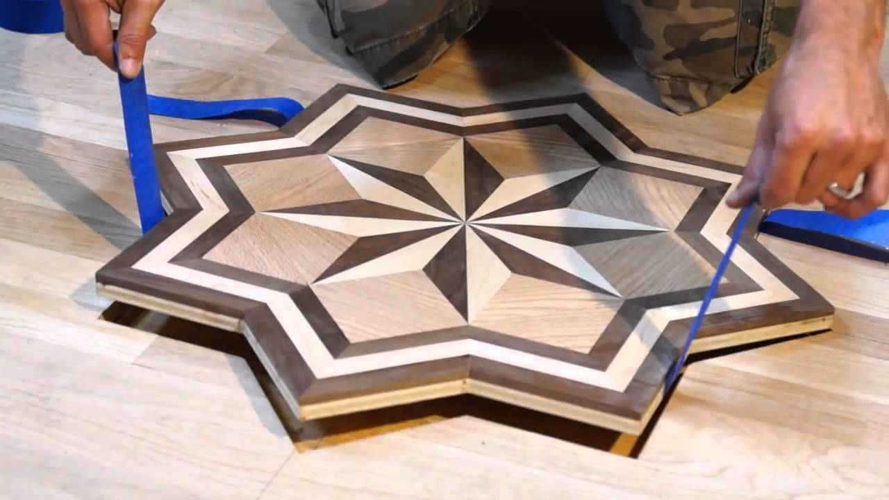 Hardwood Floor Inlays hardwood flooring staining inlay Pid Floors Presents Installing A Hardwood Flooring Medallion Inlay Youtube