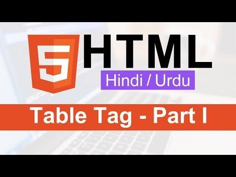 HTML Table Tag Tutorial In Hindi / Urdu - Part I