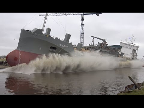 4K | Spectacular Two View IRELAND Launch at Ferus Smit Shipyard