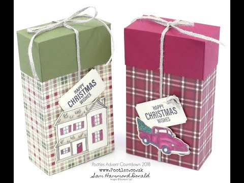 Pootles Advent Countdown 2018 #4 Festive Farmhouse Lidded Rectangular Box Tutorial - วันที่ 05 Oct 2018