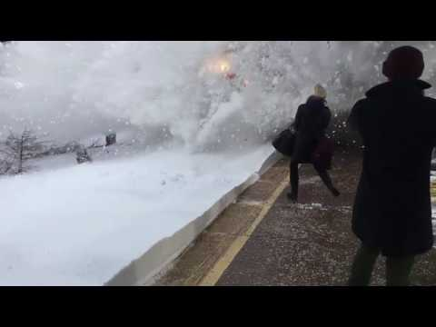 Spectacular Train Collision With Snow Following Winter Storm Stella