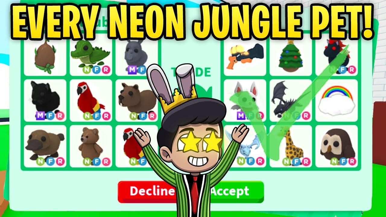 I TRADED EVERY SINGLE NEON PET IN JUNGLE EGG (adopt me rich