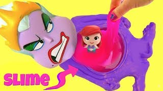 El Juego de Ursula Tiene Pancita de Slime de Mr. Doh con las Pricesas de Disney Ariel, Elsa y Anna