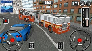 Fire Truck Driving School 911 Emergency Response - 2 Steering Wheel Firefighter Truck - Android Game