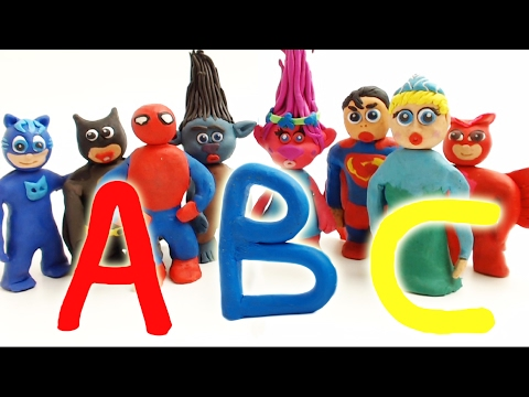 Thumbnail: Learning ABC With Superheroes Stop Motion Animation Funny Educational Play Doh Movies