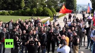 «Ночные волки» приняли участие в акции протеста в Словакии против учений НАТО в Европе