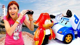 Машинка Робокар Поли и пожарный Сэм ловят Пирата.