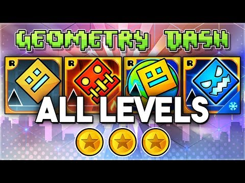 ALL LEVELS | Geometry Dash 2.11 + Meltdown + World + SubZero (All Coins) | GuitarHeroStyles