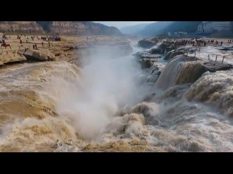 North China's Hukou Waterfall Surges