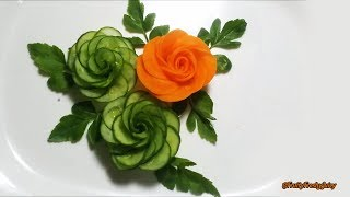 Repeat youtube video How To Make Cucumber Rose - Cucumber Carving & Cutting Techniques