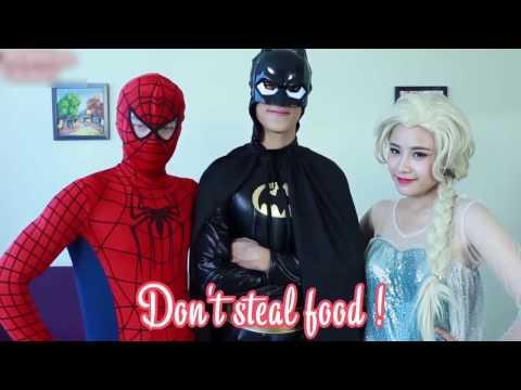 Spiderman FIND IN DRESS of Frozen Elsa ? w/ Batman Funny Superhero Movies In Real Life