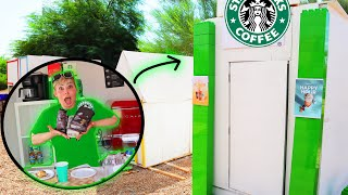 WE BUILD A MINI STARBUCKS IN TINY TOWN!