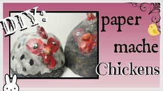 DIY: how to make a paper mache chicken sculpture using a plastic bottle / tutorial
