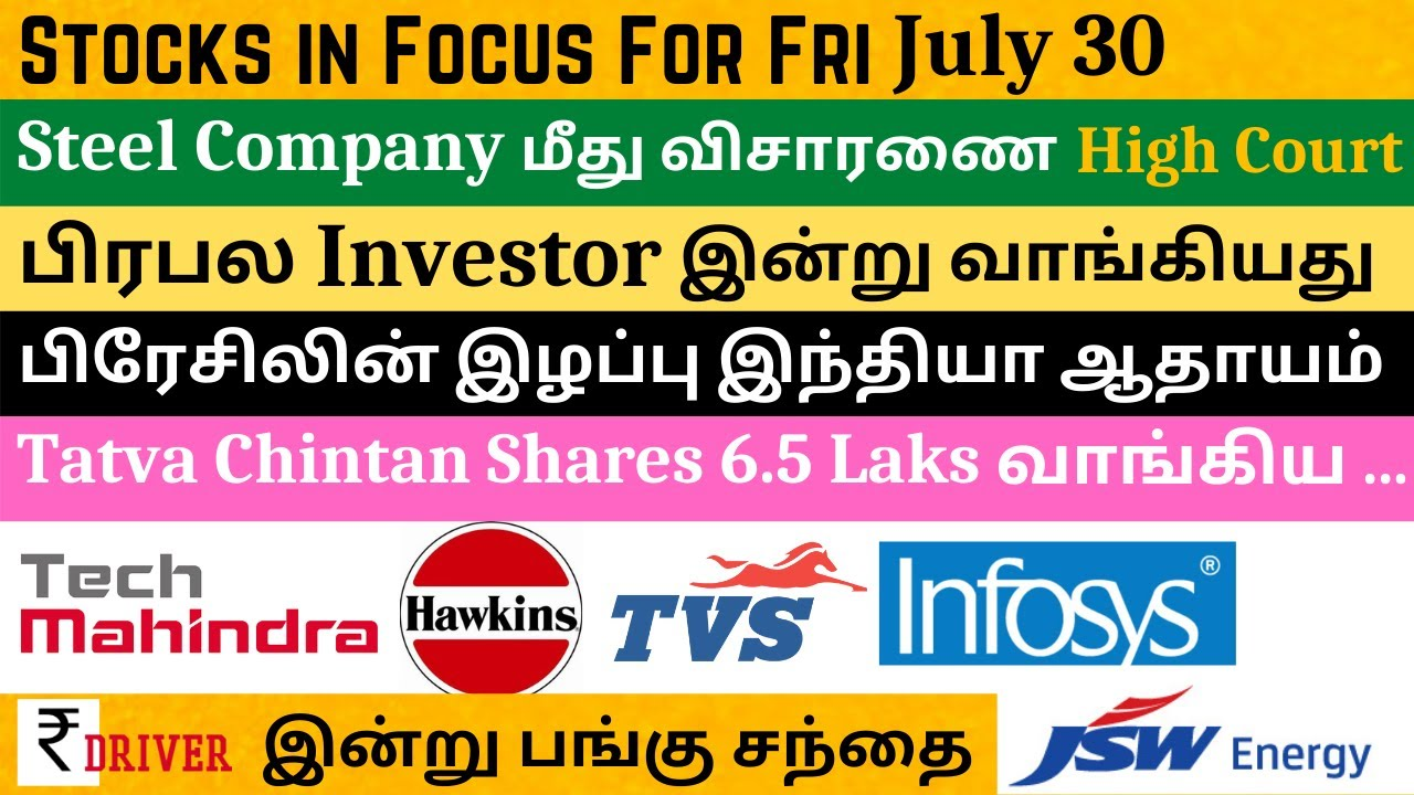 Today share market news Tamil share market news today Tamil pangu sandhai news stock for tomorrow