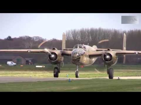 Take off B-25 Mitchell from Teuge Airport 18-04-2015