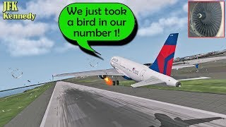 [REAL ATC] Delta A319 HITS SOME BIRDS on takeoff at Kennedy JFK!
