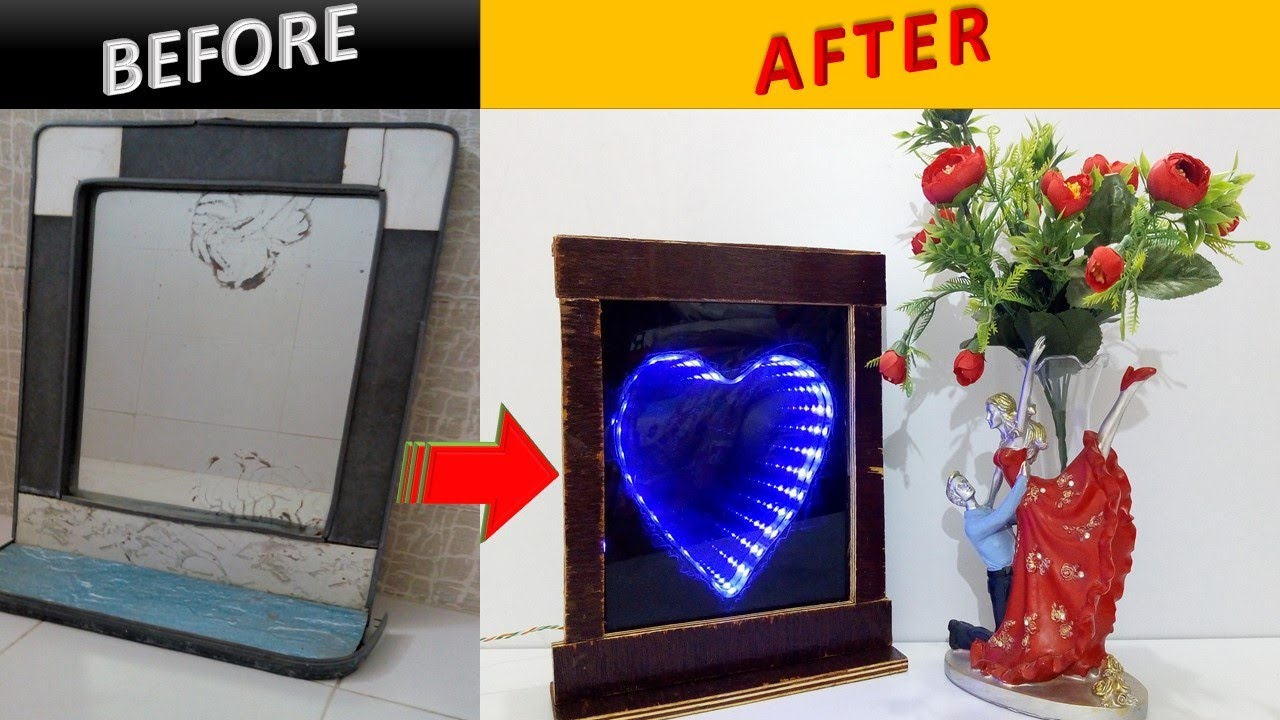How to Make LED Infinity Illusion Mirror|3D illusion Heart #3Dmirror#5minutecraft#homemade#howtomake