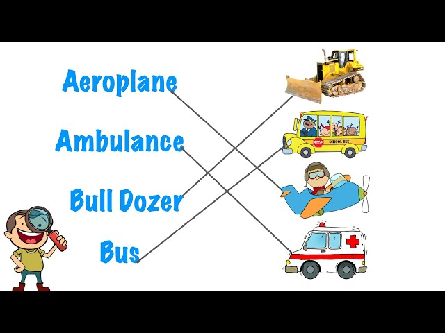 Vocabulary Exercise || Match Transport Names with their Correct Pictures || Preschool Learning Video