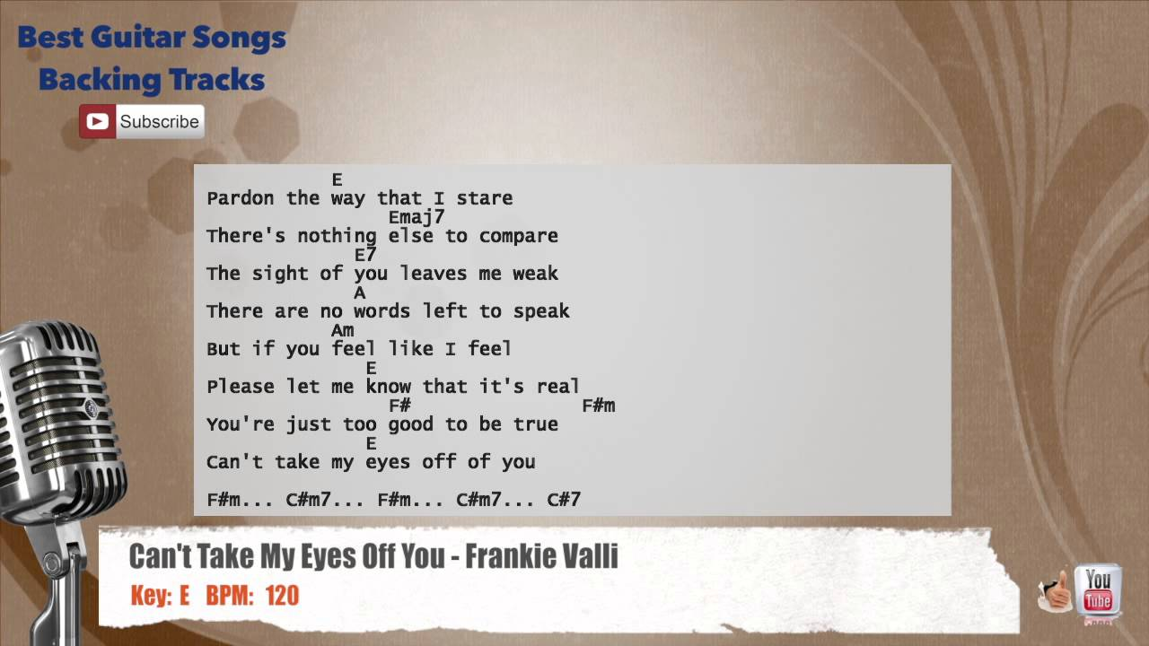 Cant Take My Eyes Off You Frankie Valli Vocal Backing Track With