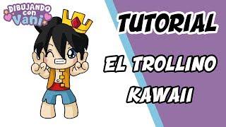 COMO DIBUJAR EL TROLLINO KAWAII - DIBUJOS IMAGENES FACILES ANIME PARA COLOREAR  How to draw trollino