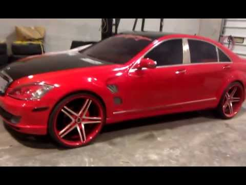 "Red Line Tires >> MERCEDES S550 Mustard N Mayo REDLINE 24"" - YouTube"