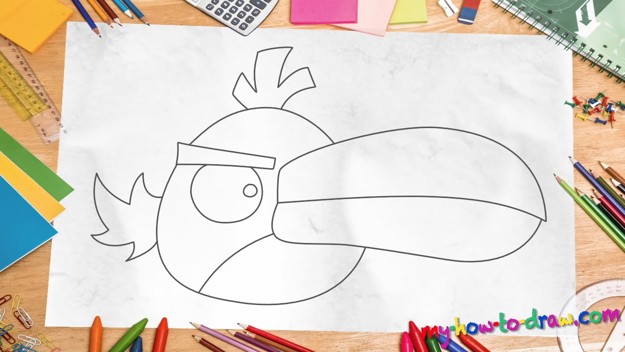 How to draw angry birds hal easy step by step drawing lessons for kids
