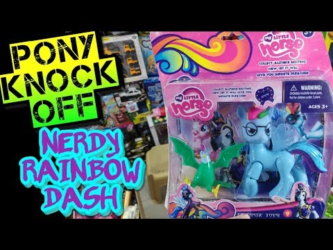 Knock Off Rainbow Dash Toy With Glasses (Reading Rainbow?  Geeky Dash?  Nerdy Dash?)