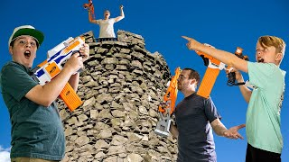 King of the Castle Family Nerf Battle! Ethan and Cole Challenge Family!
