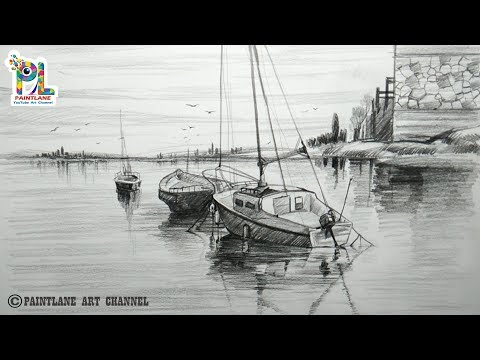 learn-easy-pencil-drawing-with-sailboats-for-beginners- -step-by-step