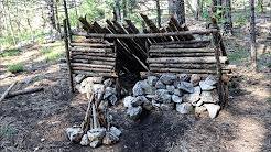 Stone Wood Natural Survival Shelter w/ Minimalistic Car Kit Bushcraft Overnight