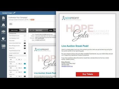Create a Promotional Email Campaign for your Event Fundraiser using Constant Contact