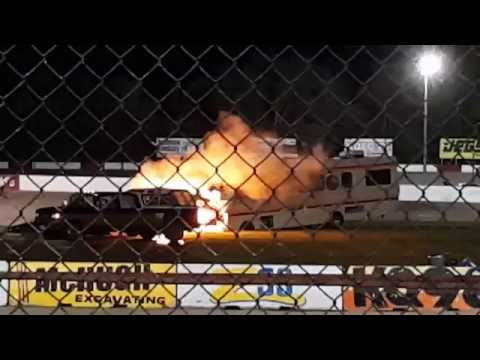 Worlds fastest motor home rv camper fire