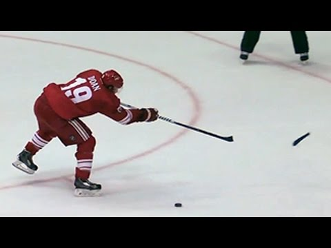 Doan breaks his stick and scores during the shootout
