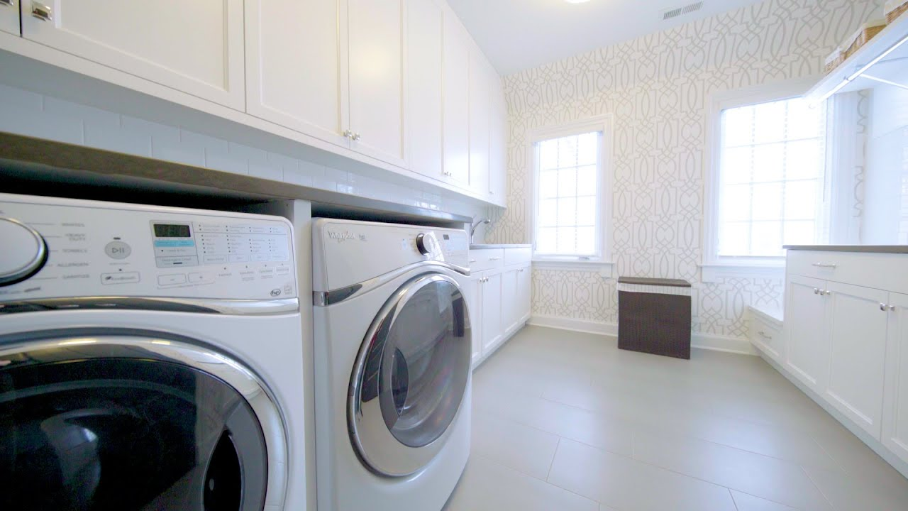 Lovely Laundry Room White Subway Tile Backsplash Laundry Basket Storage Undermount Sink Youtube