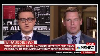 Rep. Swalwell on MSNBC discussing AG Jeff Sessions' possible ouster & Jared Kushner's testimony